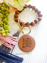 Load image into Gallery viewer, Engraved Wood Beaded Wristlet - Mom Gift, Mother's Day Gift, Women's Gift, Teacher Gift