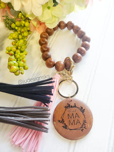 Engraved Wood Beaded Wristlet - Mom Gift, Mother's Day Gift, Women's Gift, Teacher Gift