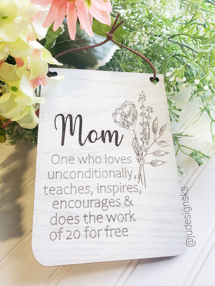 Wood Banner Sign with Mom Saying, Mom gift, Mother's Day gift