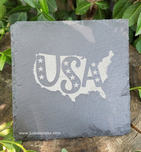 USA, Dad, Papa, Engraved Slate Coasters
