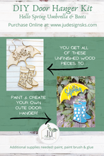 Load image into Gallery viewer, DIY Hello Spring Umbrella and Rainboots Door Hanger Kit