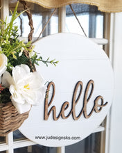 Load image into Gallery viewer, Welcome, Hello, Home Faux Shiplap Round Wood Door Decor Sign