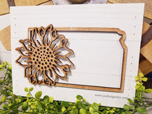 Load image into Gallery viewer, State of Kansas cutout w/Sunflower Wood Pallet Sign
