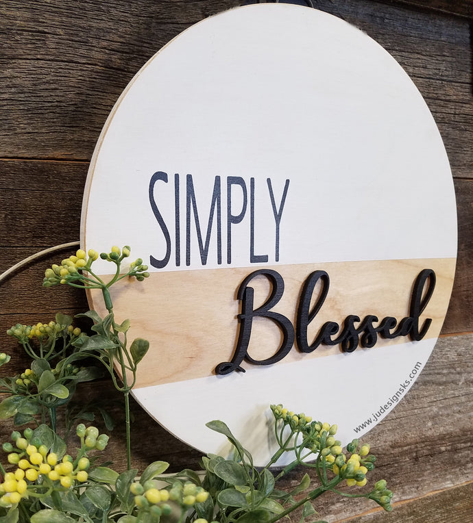 Simply Blessed Dimensional Round Wood Sign