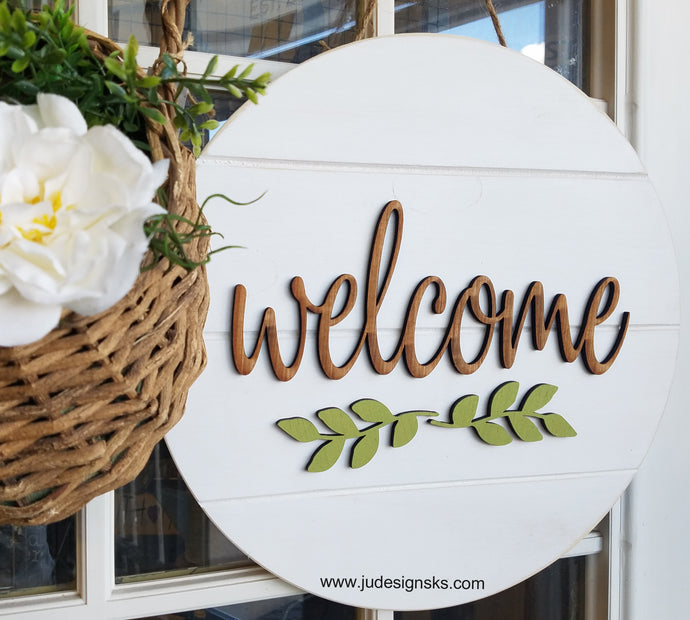 Welcome, Hello, Home Faux Shiplap Round Wood Door Decor Sign