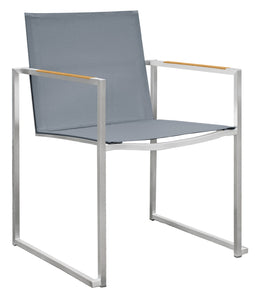 Dune Stainless Steel Arm Chair with Teak Arms - Charcoal