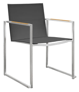 Dune Stainless Steel Arm Chair with Teak Arms - Black