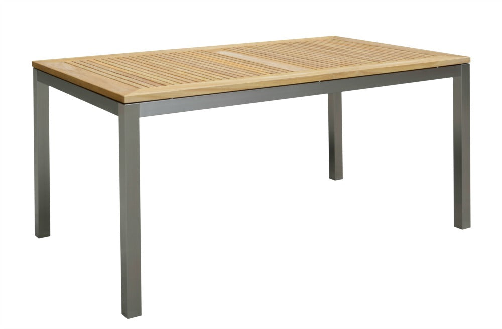 Teak Top and Stainless Leg Dining Table