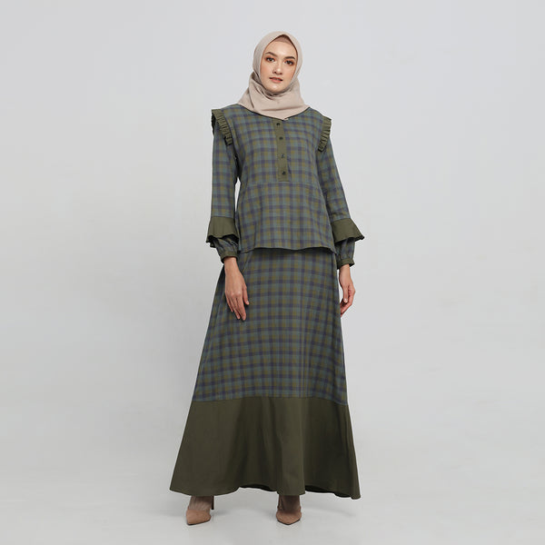 Sahnaz Green Madras Dress