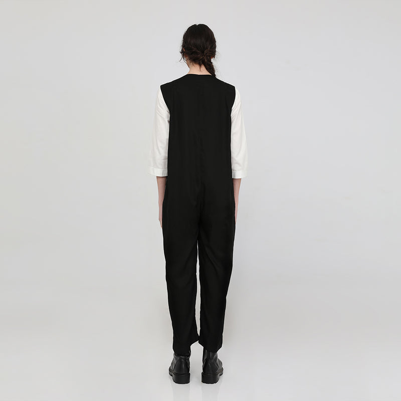 Zafia Black Jumpsuit-Glen Pattern