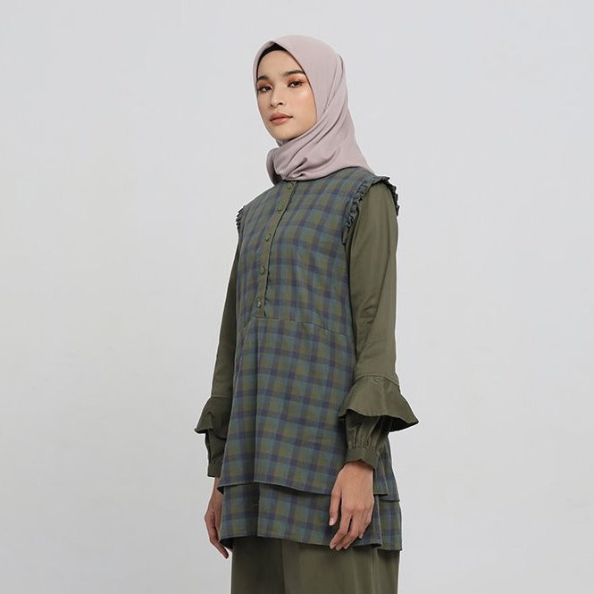 Shaila Green Madras Blouse