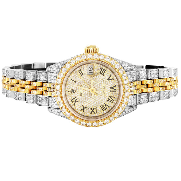 rolex 26mm datejust two tone diamonds