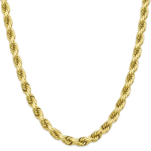 8 MM Solid Gold Rope Chain With Diamond Cuts
