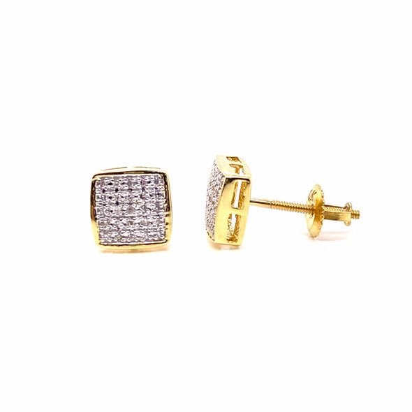 Square Curved Edges Diamond Earrings 10K Gold