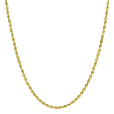 4 MM Solid Gold Rope Chain With Diamond Cuts