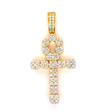 14K Yellow Gold Cluster Set Ankh Pendant With Chain