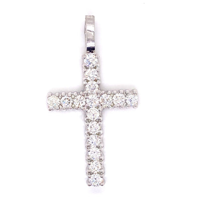 10k White Gold Solitaire Diamond Cross With Rope Chain