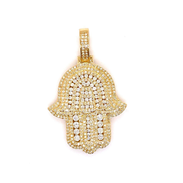 14K Gold Hamsa Hand Pendant With Rope Chain