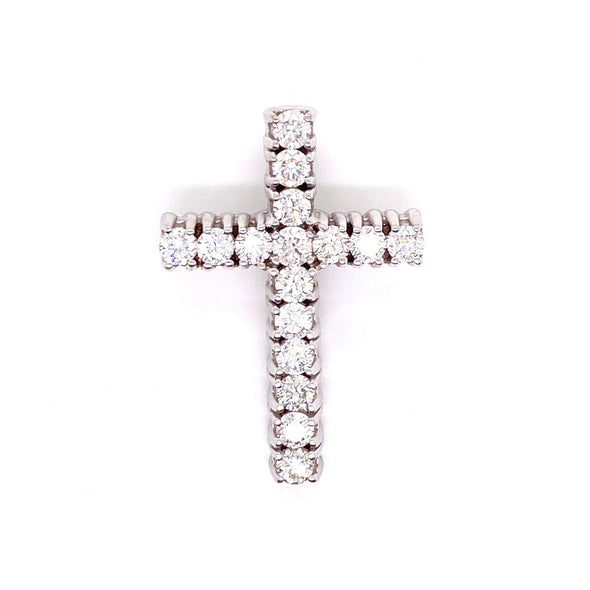 Solitaire White Gold Cross Pendant With Chain