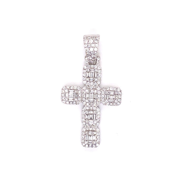 14K White Gold Baguette Cluster Diamond Cross With Chain