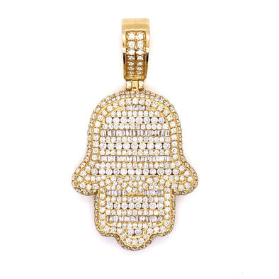14K Yellow Gold Hamsa Hand Pendant Baguette & Round Diamonds With Chain