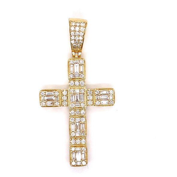 14k Yellow Gold Baguette Diamond Cross With Rope Chain