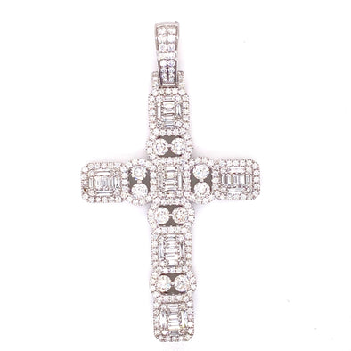 Custom Baguette & Round Diamond Cross 14K White Gold With Chain