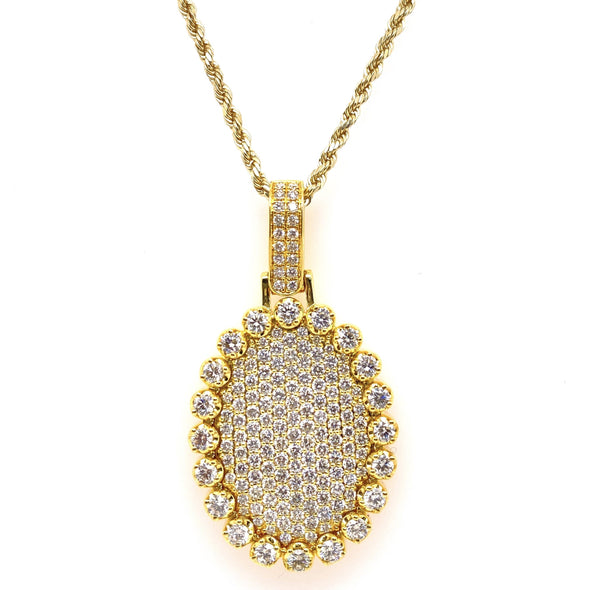 Oval Mirror Diamond Pendant With Rope Chain