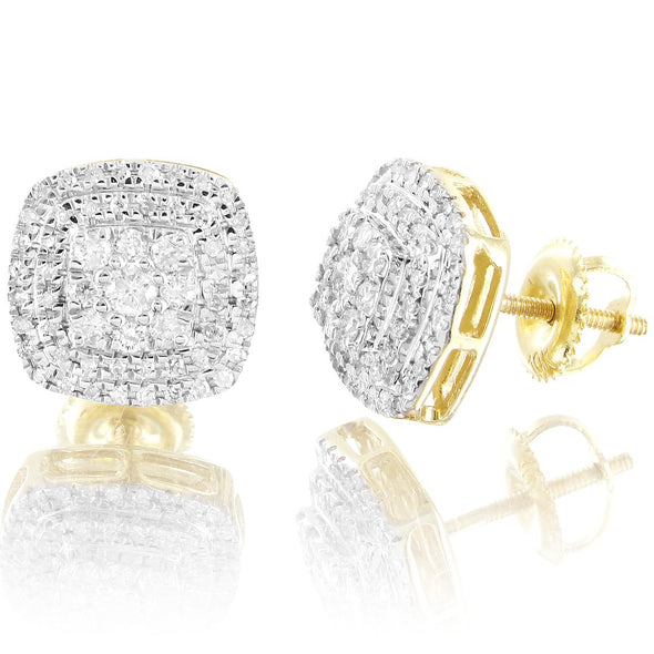 10K Gold Unisex Cluster Square Real Diamonds Earrings
