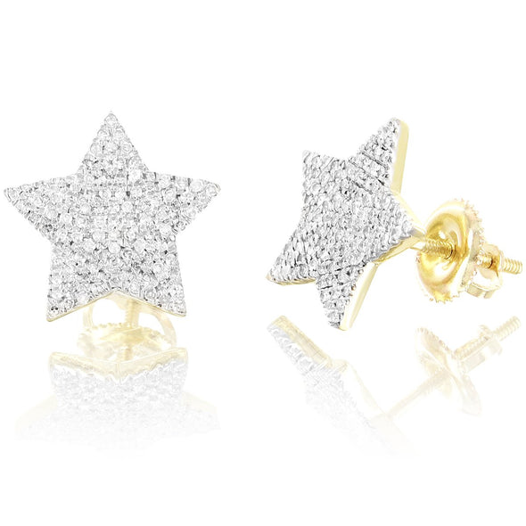 10K Gold Star Shape Diamond Earrings 5 Point Screw Back