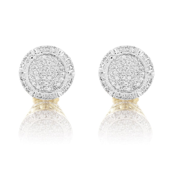 10K Yellow Gold Circle Pave Set Diamond Earrings