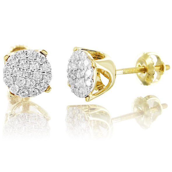 10K Yellow Gold Prong Set Custom Diamond Earrings