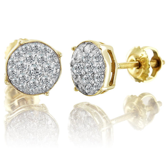 10K Yellow Gold Circle Diamond Earrings Round Cut