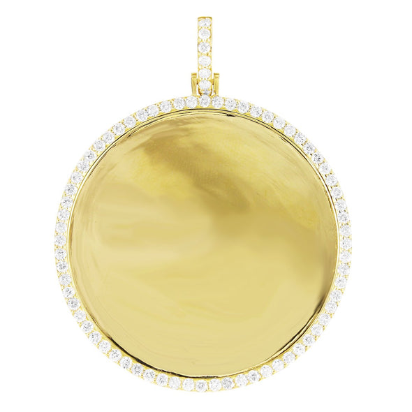 10K Gold Circle Memory Pendant Single Row Diamonds