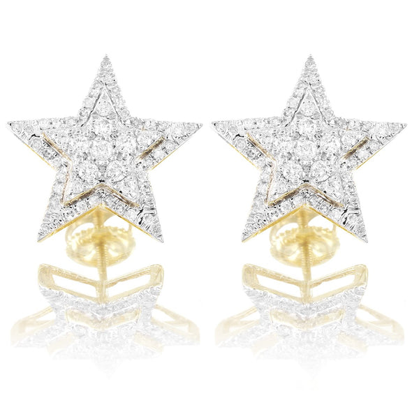 10k gold, gold earrings, diamond earrings, mens earrings, icebox, mrchrisdajewler, womens earrings, icedout, vvs, vs diamonds, jewelry, Star Earrings, Diamond Star Earrings, Double Layer