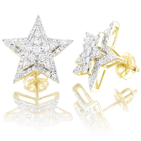 10K Gold Double Layer 3D Star Diamonds Screw Back Earrings
