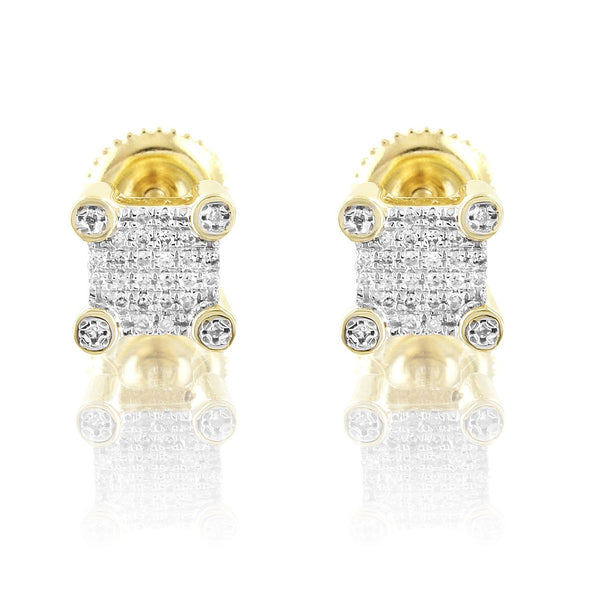 Square Shape Micro Pave Diamonds 10K Gold Studs Earrings