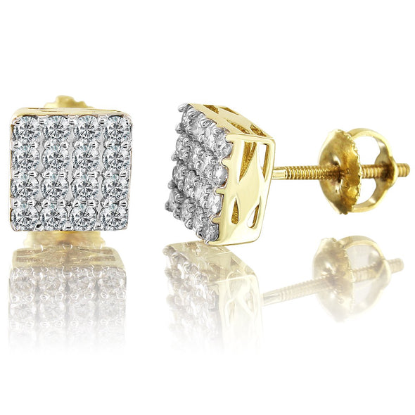 Square 10K Yellow Gold Diamond Earrings