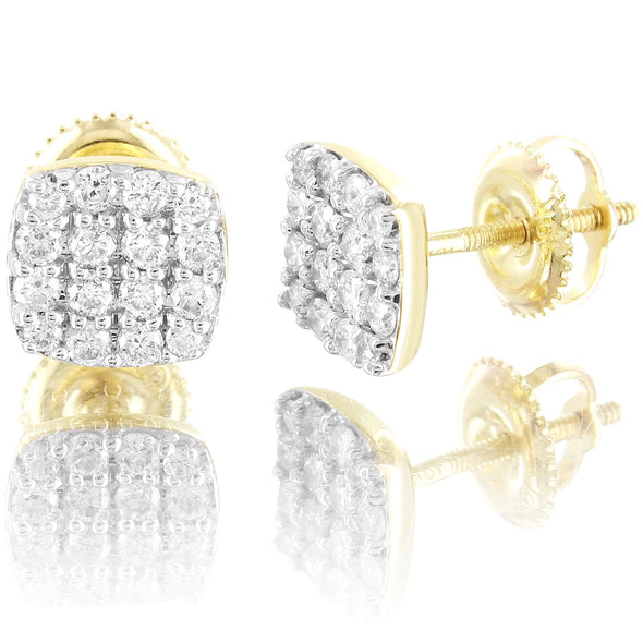 10K Gold Square Micro Pave Diamonds Classy Earrings