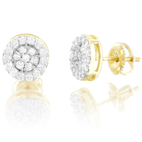 Round 10K Gold Solitaire Diamonds Cluster 3D Studs Earrings