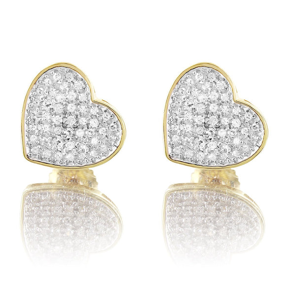 10K Yellow Gold Custom Heart Round Cut Diamond Earrings