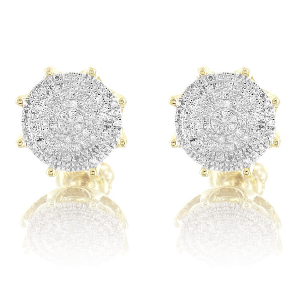Round Prong Set 10K Gold Diamonds Micro Pave Earrings