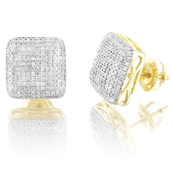 10K Gold Puffed Square Diamonds Earrings Micro Pave Screw Back