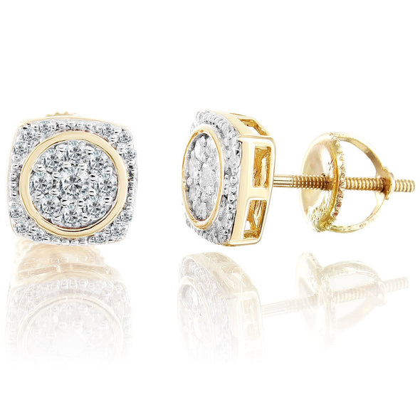 10K Gold Square Diamonds Earrings With A Custom Circle Trim