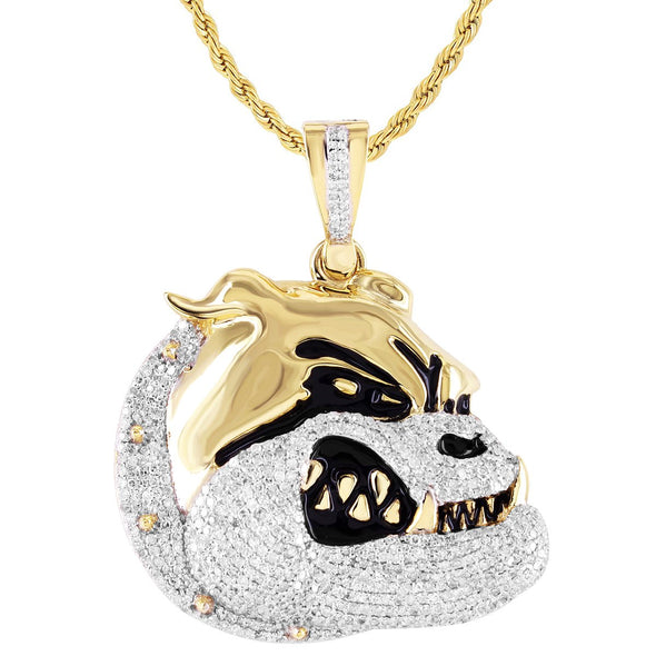 Diamond Bull Dog Pendant 10K Gold