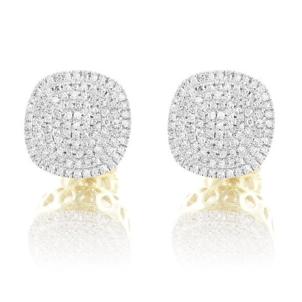10K Gold Genuine Diamonds Oval Screw Back Studs Earrings