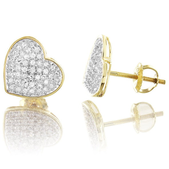 10K Yellow Gold Round Cut Heart Diamond Earrings