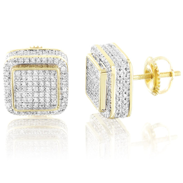 10K Gold Square Shape 3D Diamonds Screw Back Earrings