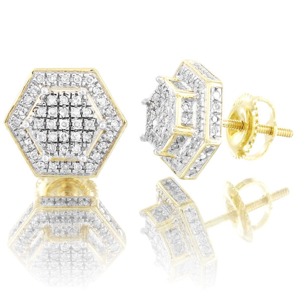 Double Layer 3D Hexagon Diamonds 10K Gold Earrings