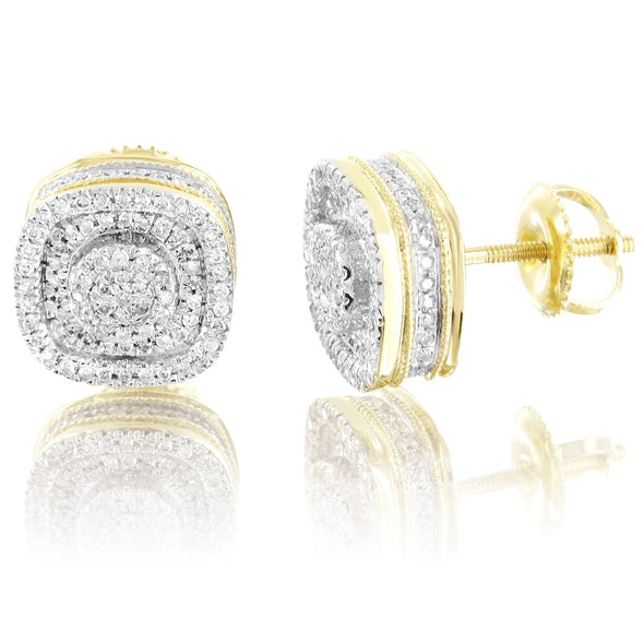 10K Gold Cluster Diamonds Micro Pave Set Screw Back Earrings